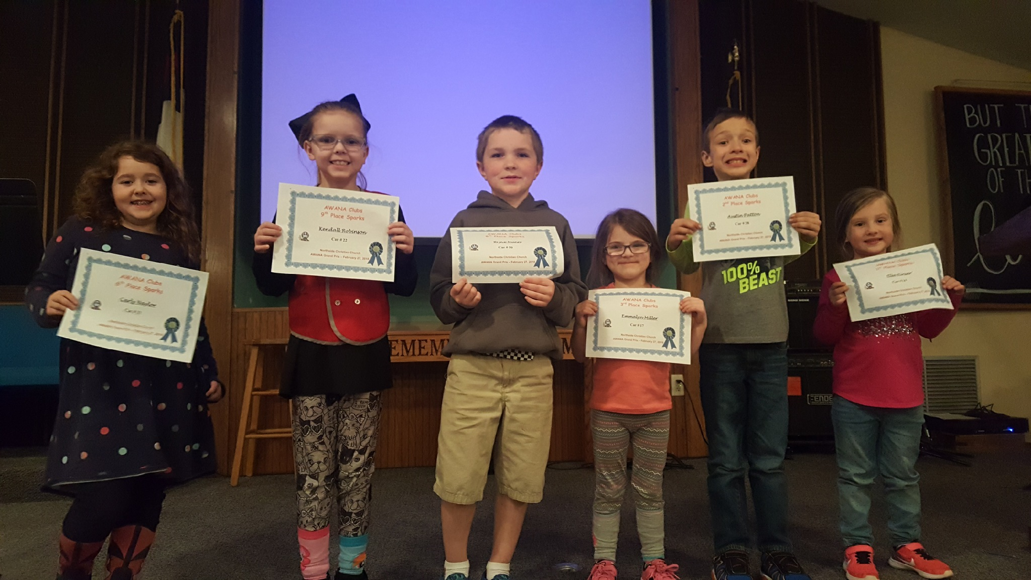 AWANA pinewood derby race awards